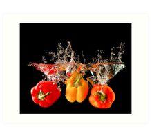 A Splash Of Peppers Art Print