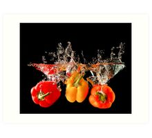 A Splash Of Peppers Art Print