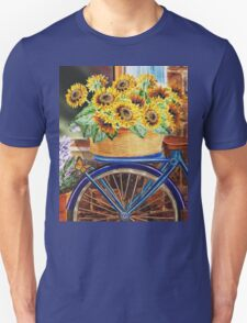 Bicycle With Basket And Sunflowers Unisex T-Shirt
