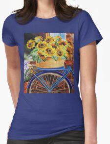 Bicycle With Basket And Sunflowers Womens Fitted T-Shirt