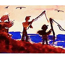 Family has gone fishing, watercolor Photographic Print