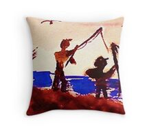 Family has gone fishing, watercolor Throw Pillow