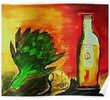 Artichoke, for a series, watercolor Poster