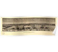 Panoramic Maps Panorama of Rock Island Ill as seen from Davenport Iowa Poster
