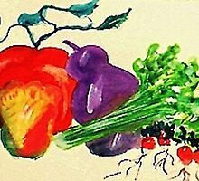 Mixed vegtables, #2, lets cook up a storm!  watercolor by Anna  Lewis