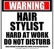 Warning Hair Stylist Hard At Work Do Not Disturb by cmmei