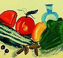 Salad makings , watercolor by Anna  Lewis, blind artist