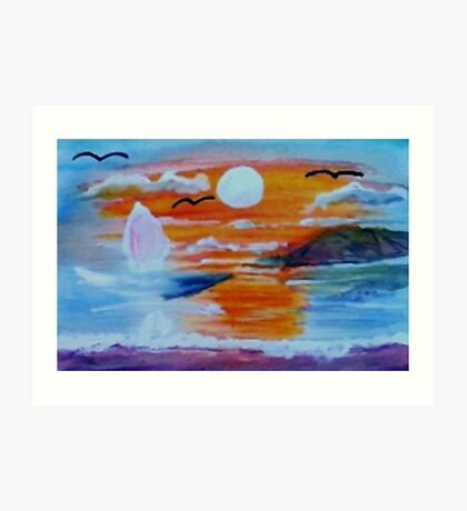 What a sunset!  watercolor Art Print