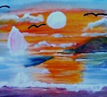 What a sunset!  watercolor by Anna  Lewis