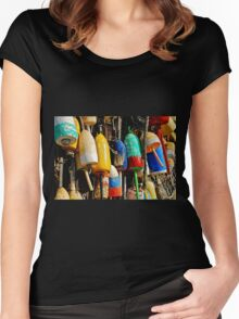 Buoys from Russell's Lobsters ... Fresh Off The Boat Women's Fitted Scoop T-Shirt