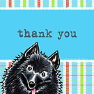 Schipperke Pretty Plaid Thank You Card by offleashart
