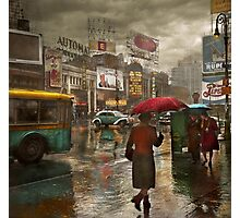 City - NY - Times Square on a rainy day 1943 Photographic Print