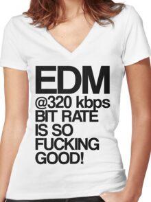EDM at 320 kbps Women's Fitted V-Neck T-Shirt