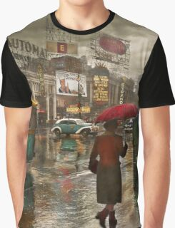 City - NY - Times Square on a rainy day 1943 Graphic T-Shirt