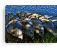 5 row boats in a row Canvas Print