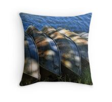 5 row boats in a row Throw Pillow