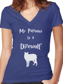My Patronus is a Direwolf Women's Fitted V-Neck T-Shirt