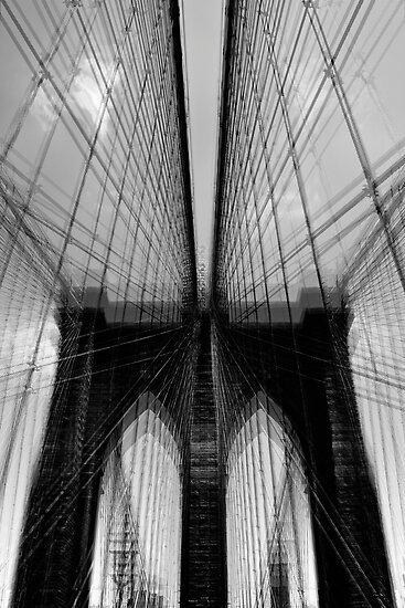 Brooklyn Bridge Wires - Abstract by Samantha Wong