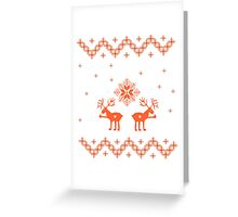 Winter ornament with deer and snowflakes Greeting Card