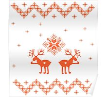 Winter ornament with deer and snowflakes Poster