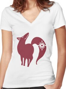 The Seven Deadly Sins - The Fox Sin of Greed (Red) Women's Fitted V-Neck T-Shirt