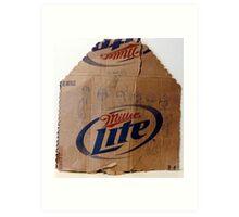 characters drawn on cardboard beer carton Art Print