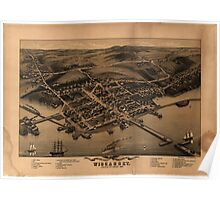 Panoramic Maps Birds eye view of the village of Wiscasset Lincoln Co Maine 1878 Poster