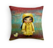 a walk in the rain Throw Pillow