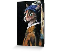 Amber with Pearl Earring by Debbie Greeting Card