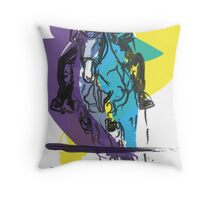 Horse jumping in colour Throw Pillow