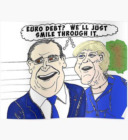 Binary options news caricature of Merkel and Hollande Poster