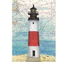 Sankaty Head Lighthouse MA Nautical Chart Peek Photographic Print