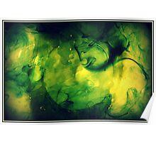 Green swirls of water Poster
