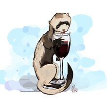 Ferret Likes his Wine by Karakhanzi