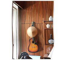 Guitar on Wall Poster
