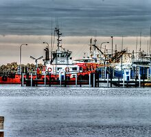 Fishing Boat Harbour in the rain by BigAndRed