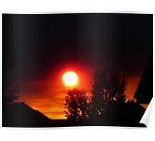 Firey sunset over Colorado Springs  Poster