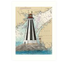 Gannet Rock Lighthouse NB Canada Nautical Map Peek Art Print