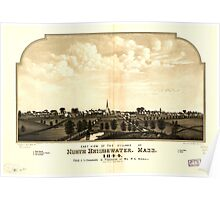 Panoramic Maps East view of the village of North Bridgewater Mass 1844 Poster