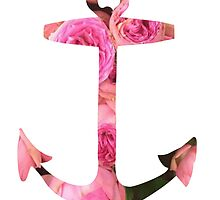 Pink Rose Floral Anchor by SailorMeg