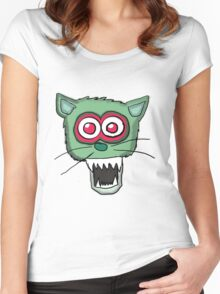 Zombie Cat Head  Women's Fitted Scoop T-Shirt