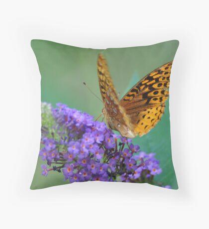 Meadow Frittillary on Butterfly Bush Throw Pillow