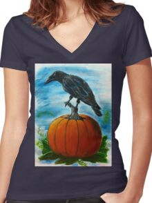 Crow on Pumpkin Autumn Art Painting   Women's Fitted V-Neck T-Shirt