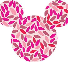 Mouse Silhouette Delicate Pink Leaves Pattern by nemofish