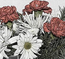 Carnations and Daisy Sketch by Joy  Rector