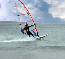 windsurfer in a storm by morrbyte