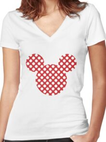 Mouse Silhouette Polka Dot Spotty Motif Women's Fitted V-Neck T-Shirt