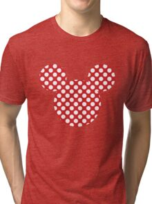 Mouse Silhouette Polka Dot Spotty Motif Tri-blend T-Shirt