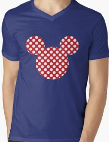 Mouse Silhouette Polka Dot Spotty Motif Mens V-Neck T-Shirt