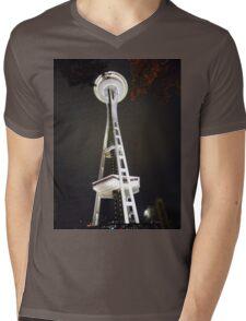 Space Needle at Night Mens V-Neck T-Shirt